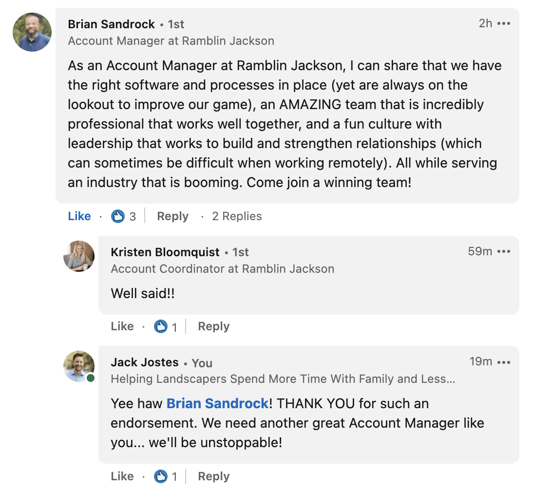 Account Manager LinkedIn Comments
